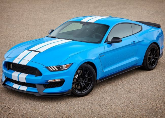 2017 Ford Mustang Shelby GT350 sport car Exterior front view sky blue color